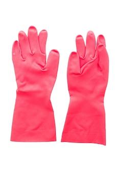 Rubberen handschoen op wit wordt geïsoleerd