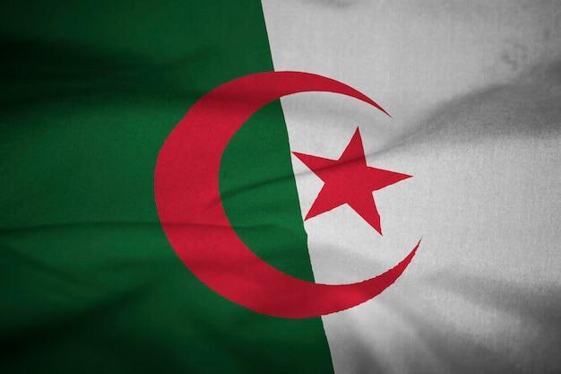 Ruffled vlag van algerije blowing in wind