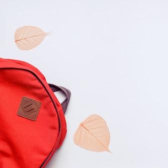 Rugzak en oranje bladeren o