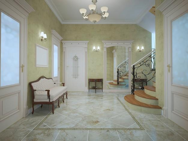 Ruime entree van hotel in neoklassieke stijl.