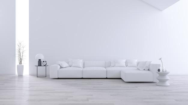 Ruime moderne en minimalistische woonkamer, zwart-wit interieur