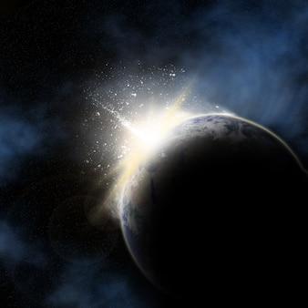 Ruimte met opkomende zon achter planeet aarde