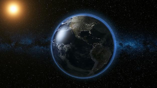 Ruimte uitzicht op de planeet aarde en de zonnester die om zijn as draait