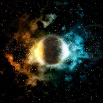 Ruimteachtergrond met brand en ijsplaneet