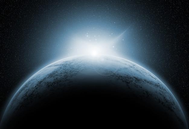 Ruimteachtergrond met fictieve planeten