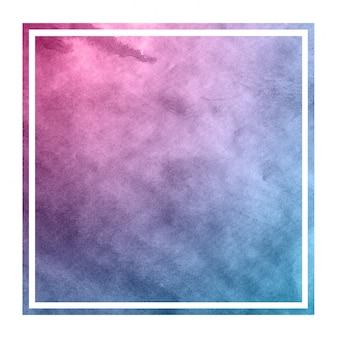 Ruimtekleuren handgetekende aquarel rechthoekig frame