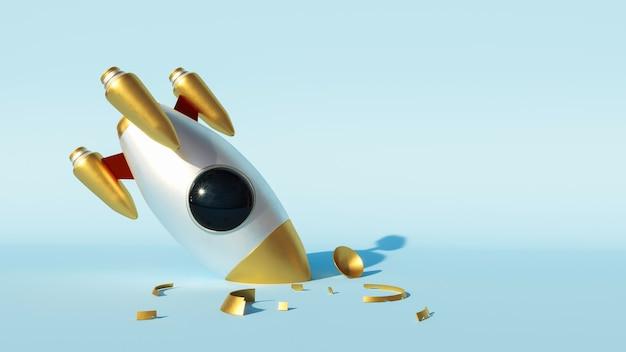 Ruimteraket gebroken na mislukte landing met zijn neus in de grond geslagen, gebroken dromen, succes en mislukking