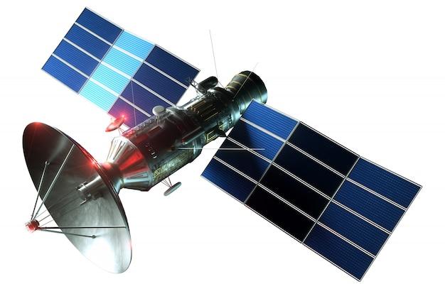Ruimtesatelliet met schotelantenne en zonnepanelen geïsoleerd op een witte muur. telecommunicatie, supersnel internet, klinken, verkenning van de ruimte. 3d render, 3d illustratie, kopieer ruimte.