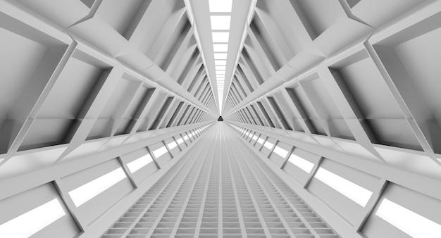 Ruimteschipgang, tunnel met licht. sci-fi, wetenschappelijk concept