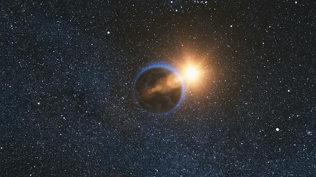 Ruimteweergave op planeet aarde en zon in universum