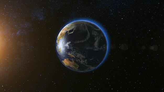Ruimtezicht op de planeet aarde en de zonnester die om zijn as draait in een naadloze lus van het zwarte universum met
