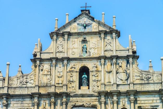 Ruïneert st.paul church in de stad van macau