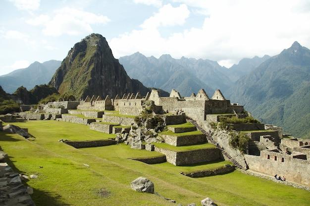 Ruïnes in de verloren inca-stad machu-picchu, peru