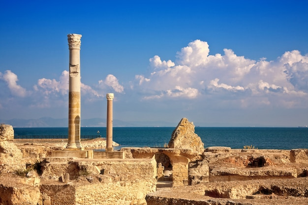 Ruïnes van antonine baths in carthago, tunesië