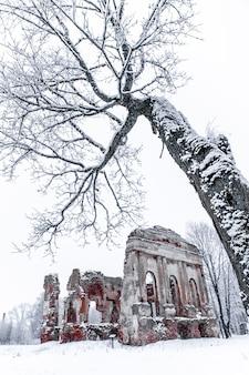 Ruïnes van de oude kerk in een winterdag