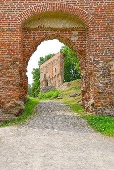 Ruïnes van het middeleeuwse kasteel in viljandi, estland in zonnige zomerdag. zachte focus.