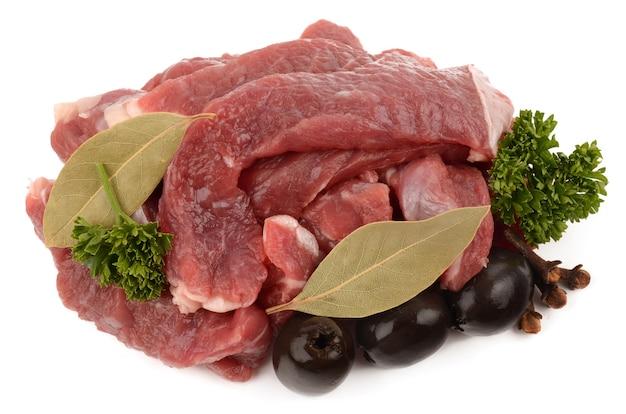 Rundvlees dat op wit wordt geïsoleerde
