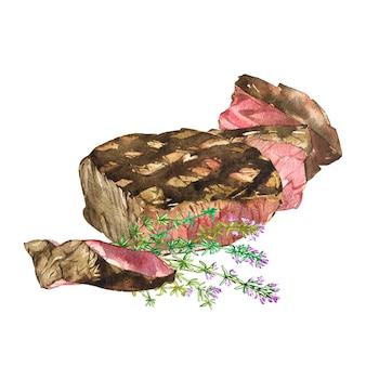 Rundvlees en karwij. aquarel ilustration van ribeye steak. kijken naar planken