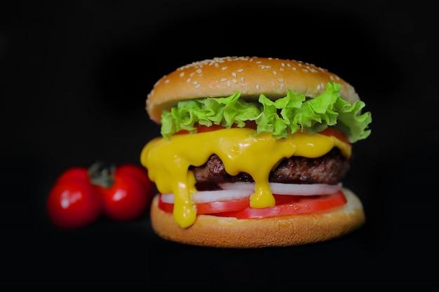 Rundvlees hamburger geïsoleerde close-up