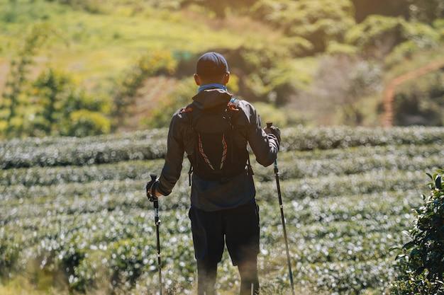 Runners. jongeren trail uitgevoerd op een bergpad. avontuurlijk parcours op een bergstijl.