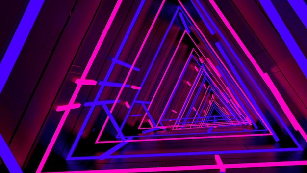 Running in neon light triangle tunnel wallpaper in retro en fashion party scene.