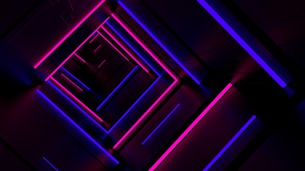 Running in neon light tunnel