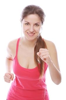 Running vrouw met koptelefoon