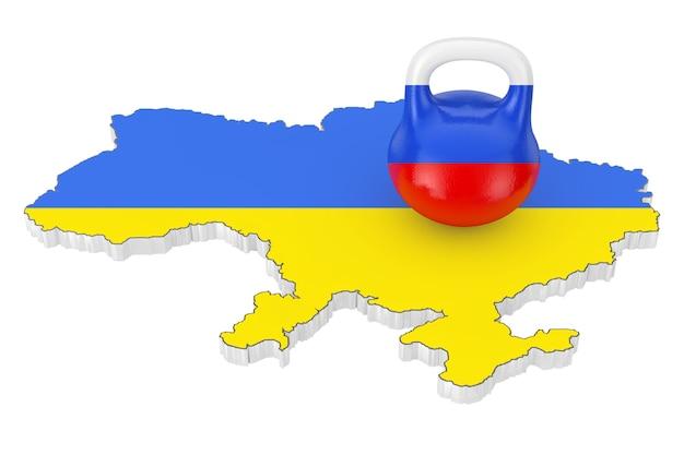 Rusland agressie concept. iron kettlebell met rusland vlag over oekraïne kaart met vlag op een witte achtergrond. 3d-rendering