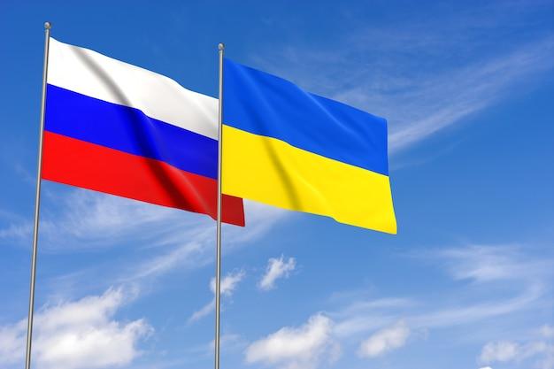 Rusland en oekraïne vlaggen over blauwe hemelachtergrond. 3d-rendering