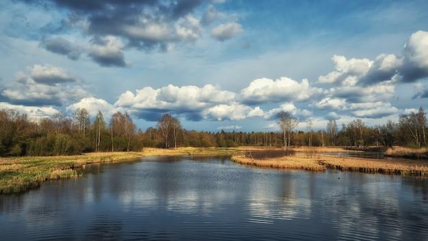 Russisch de lentelandschap met weerspiegelingen van bomen in het meer