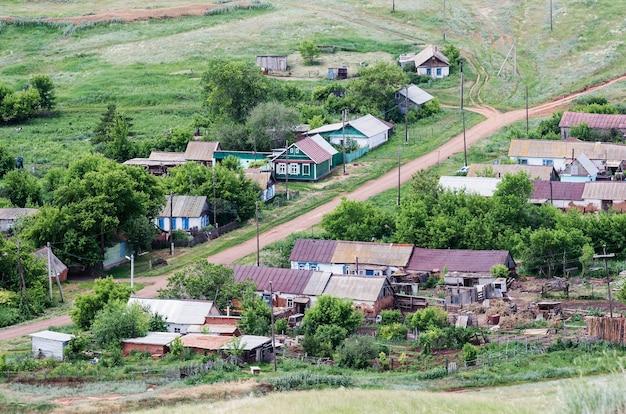 Russisch dorp, weergave van bovenaf. regio repino orenburg