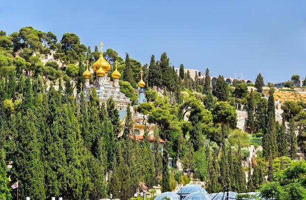Russisch-orthodoxe kerk van maria magdalena op de olijfberg in jeruzalem, israël
