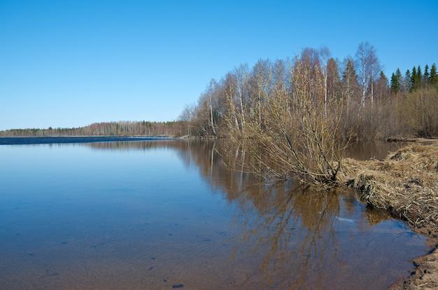 Russische landschap arkhangelsk oblast lente overstromingen op het meer