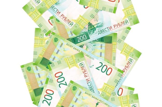 Russische roebelsrekeningen op een witte achtergrond