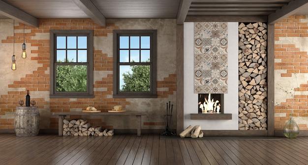 Rustiek ingerichte kamer met oude open haard