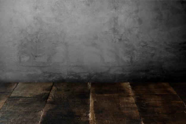 Rustieke houten planken met betonnen wal