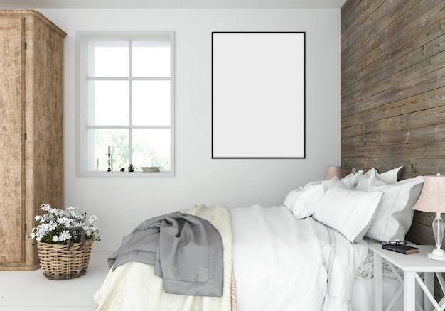 Rustieke slaapkamer met leeg verticaal kader, kunstwerkvertoning