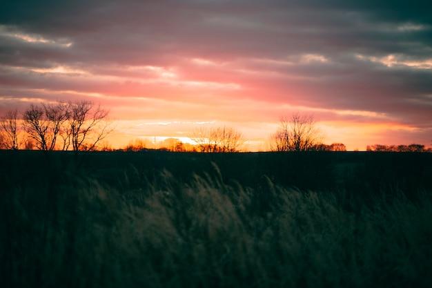 Rustig uitzicht op zonsonderganglicht