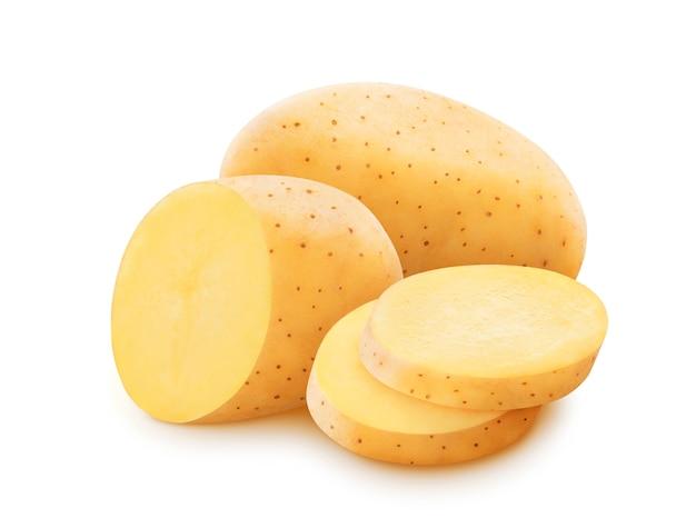 Ruwe die aardappel op witte achtergrond met het knippen van weg wordt geïsoleerd