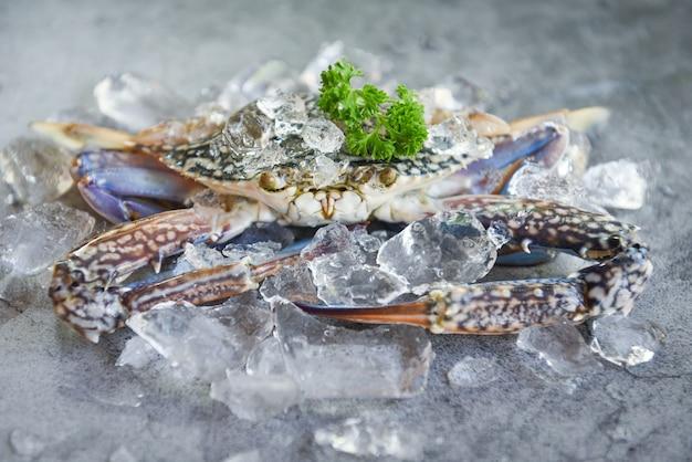 Ruwe krab op ijs met kruiden op de donkere plaatachtergrond - verse krab voor gekookt voedsel bij restaurant of zeevruchtenmarkt, blauwe zwemmende krab