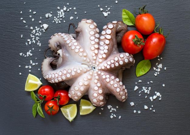Ruwe octopus met limoen, tomaten en basilicum bovenaanzicht