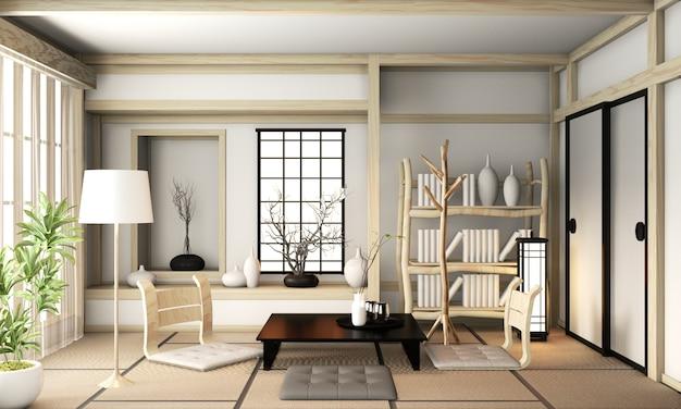 Ryokan woonkamer japanse stijl met tatami mat vloer en decoratie