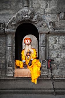 Sadhu bij de pashupatinath-tempel