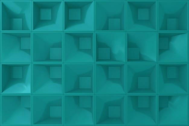 Saffier kleur vierkante shope 3d muur voor achtergrond.