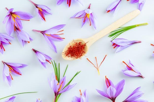 Saffraankruid in een houten lepel onder krokusbloemen op een witte achtergrond. saffraankruid dat wordt gebruikt in de keuken, cosmetologie en traditionele geneeskunde