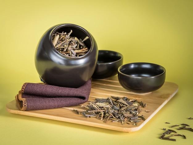 Sagan dagelijkse thee in zwarte pot op een gele achtergrond rhododendron adamsii thee shaman tea