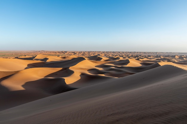 Sahara dune-zand bij sanset donker