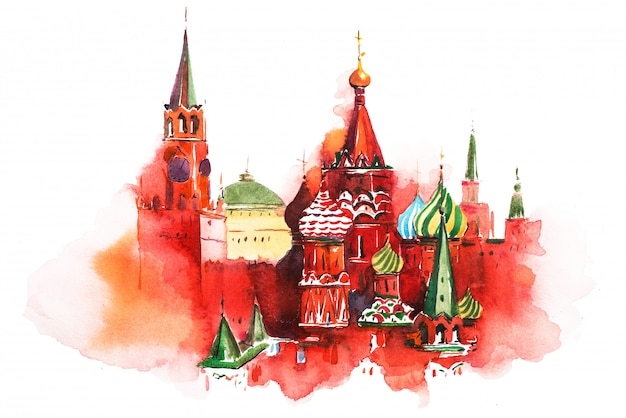 Saint basil cathedral aquarel illustratie