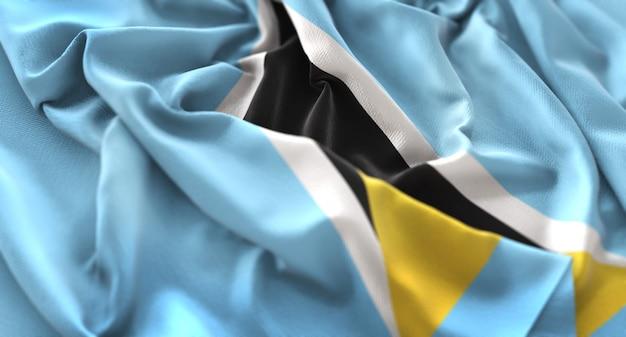Saint lucia flag ruffled mooi wave macro close-up shot