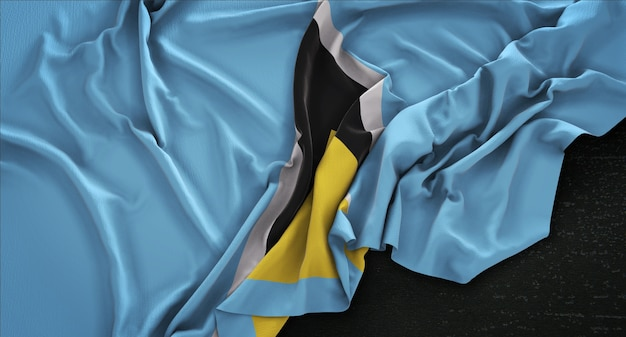 Saint lucia vlag gerimpelde op donkere achtergrond 3d render